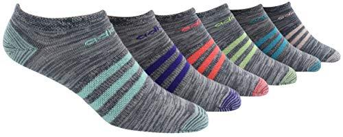 adidas Women's Superlite No Show Socks (6-Pair), Onix - Clear Onix Space Dye/Easy Green/Energy Ink Bl, Medium, (Shoe Size 5-10) - PRTYA