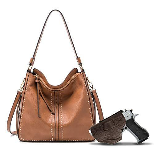 Brown Large CCW Hobo Purse for Women Studded Leather Crossbody Shoulder Handbag With Pistol Holster - Conceal Weapon MWC-G1001BR