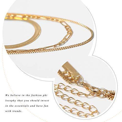 Jeairts Punk Layered Necklace Gold Snake Bone Choker Necklaces Minimalist Necklace Chain Jewelry for Women and Girls