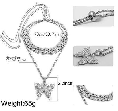 Butterfly Cuban Link Necklace Women Hip Hop Crystal Choker Necklace Chain with Silver Bling Bling Rhinestone Big Butterfly Pendant Necklace Jewelry Gifts