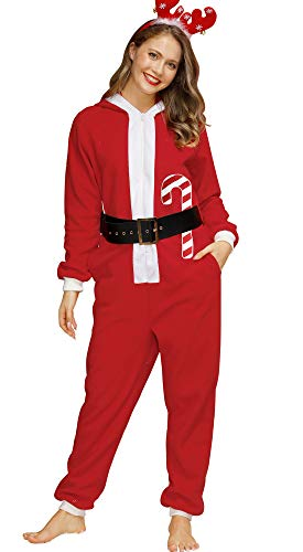 Spadehill Christmas Women Fleece One Piece Hooded Pajamas Santa Claus Long Sleeve Warm Onesie with Pockets M