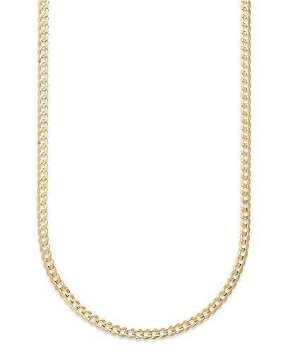 14K Gold 2.5MM, 4MM, 5MM, 6.5MM, 7.5MM, 9MM Cuban/Curb Chain Necklace and Bracelet - Made In Italy - Yellow, White, Rose, Two Tone (16, 2.5MM, Yellow)
