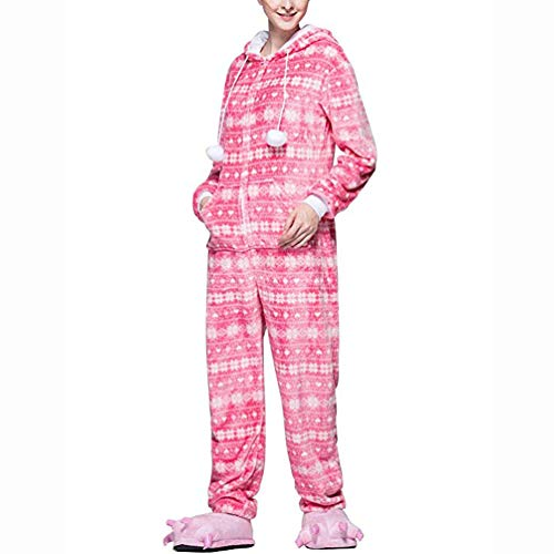 Womens Flannel One-Piece Pajamas Adult Super Soft Plaid Snowflake Comfy Sleepwear Ladies Jumpsuit Pink