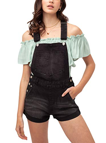 theSimple Women's Summer Cute Denim Romper Overall Shorts – Distressed Rolled Hem Bib Shortalls LT3373RK Black L
