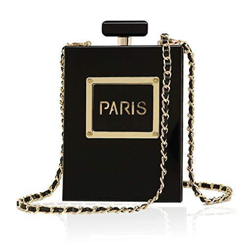 Women's Acrylic Paris Perfume Shaped Black Bag Purses Clutch Evening Bags Vintage Banquet Handbag, Black-paris Perfume Shaped, Small