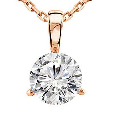 "0.5 Carat 14K Rose Gold Round Diamond 3 Prong Solitaire Pendant Necklace H-I Color SI2-I1 Clarity, w/ 16"" Silver Chain"