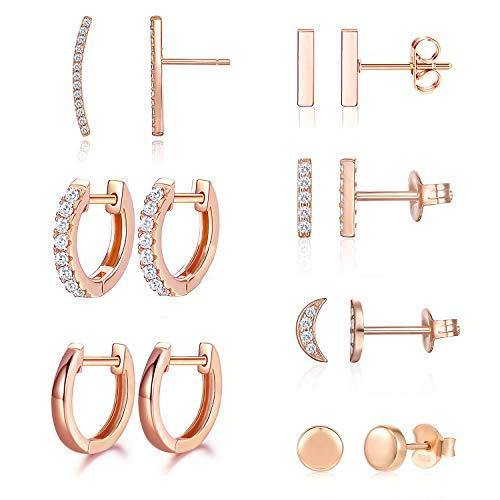 Earrings for Women Hoop Huggie Girls Ear Piercing Minimalist Cuff Mini Bar Dainty Stud Perfect for Gifting Rose Gold Plated AAA+ Cubic Zirconia Small Set 14pcs Earrings (14Pcs Set) (Rose Gold)