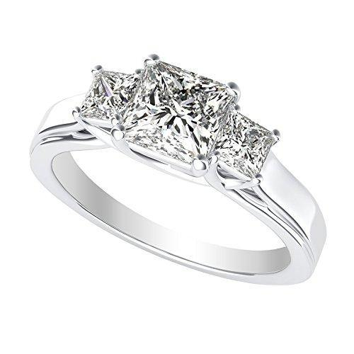 1 1/2 1.5 Carat 3 Three Stone Princess Diamond Engagement Ring 14K White Gold H-I Color I1-I2 Clarity