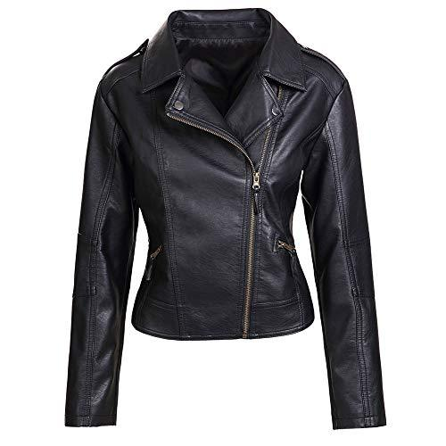 Artfasion Womens Slim Tailoring Faux Leather PU Short Jacket Coat Moto Biker Jacket (CT22-black, S) - PRTYA