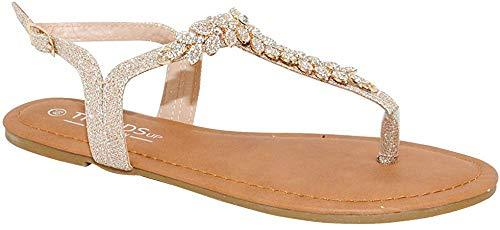 TRENDSUP COLLECTION Womens T-Strap Buckle Flats Sandals (8, Champagne Glitter) - PRTYA