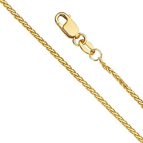 14k REAL Yellow Gold 1.5mm Diamond Cut Round Wheat Chain Necklace with Lobster Claw Clasp - 22""