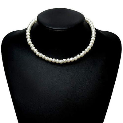 BABEYOND Round Imitation Pearl Necklace Wedding Pearl Necklace for Brides White (Diameter of Pearl 8mm)