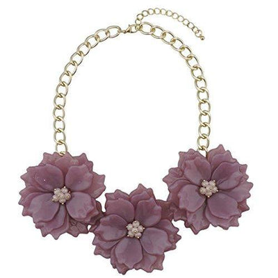 Bocar Statement Chunky Flower Necklace Earrings Bib Collar Jewelry Set for Women (NK-10466)