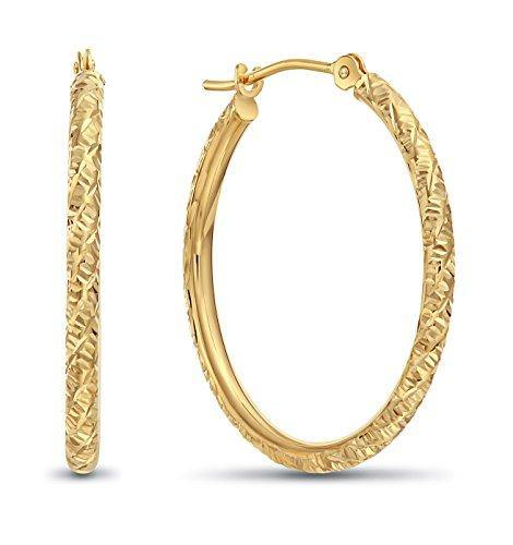 14k Gold Hand Engraved Diamond-cut Round Hoop Earrings -1'' Diameter (yellow-gold)
