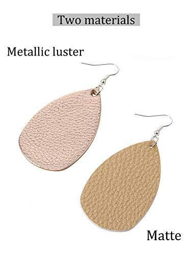 20 Pairs Faux Leather Teardrop Petal Earrings for Ladies Antique Leather Earrings for Women Girls