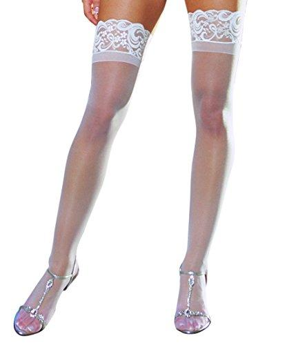 Dreamgirl Women's Sheer Thigh-High Stockings, White, One Size - PRTYA