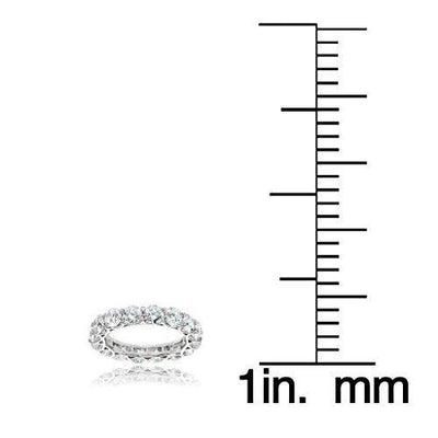 Hoops & Loops Sterling Silver Cubic Zirconia 4mm Round-Cut Eternity Band Ring