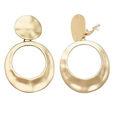 Rosemarie Collections Women's Statement Matte Hammered Metal Disc Hoop Dangle Clip on Style Earrings (Matte Gold Tone)