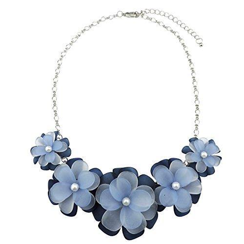Bocar Statement Flower Choker Necklace for Women Blue Acrylic (NK-10241)