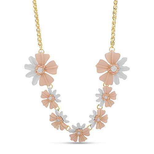 "CATHERINE MALANDRINO Rhinestone Accent Pink and White Flower 20"" Chain Yellow Gold-Tone Statement Necklace for Women"
