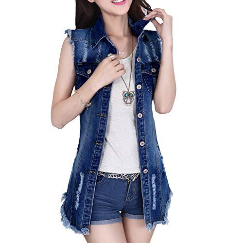 Dasior Women's Distressed Sleeveless Long Denim Cardigan Vest Jean Jacket Plus Size XL Dark Blue - PRTYA