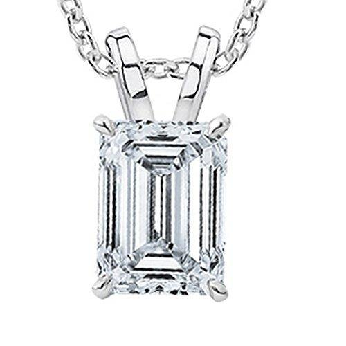 "0.56 Carat 14K White Gold Emerald Diamond Solitaire Pendant Necklace I Color SI1 Clarity w/ 18"" Silver Chain"