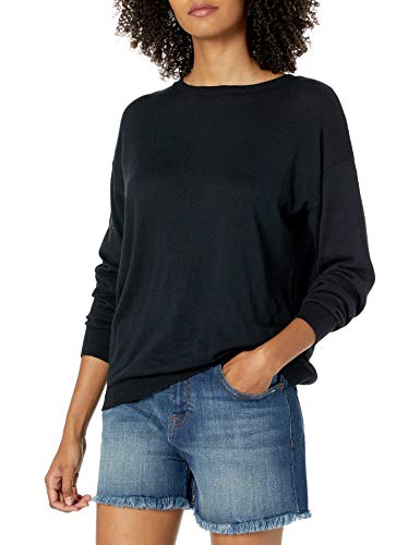 The Drop Women's Corrine Loose Long Sleeve Pullover Crew Neck Sweater, Black, M