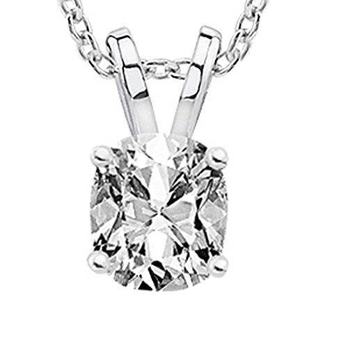 "0.7 Carat 14K White Gold Cushion Diamond Solitaire Pendant Necklace H Color SI1 Clarity w/ 18"" Silver Chain"