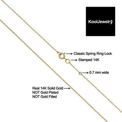 KoolJewelry Solid 14k Yellow Gold THIN Rope Chain Necklace (0.7 mm, 14 inch)