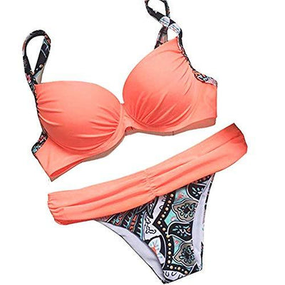 Astylish Women's Push Up Two Piece Bikini Swimsuits Padded Swimwear Bathing Suits Pink Medium 8 10 - PRTYA