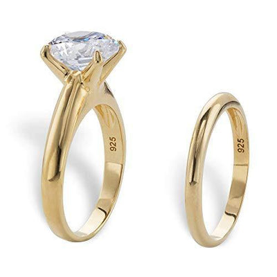 14K Yellow Gold over Sterling Silver Round Cubic Zirconia 2 Pair Solitaire Bridal Ring Set Size 5