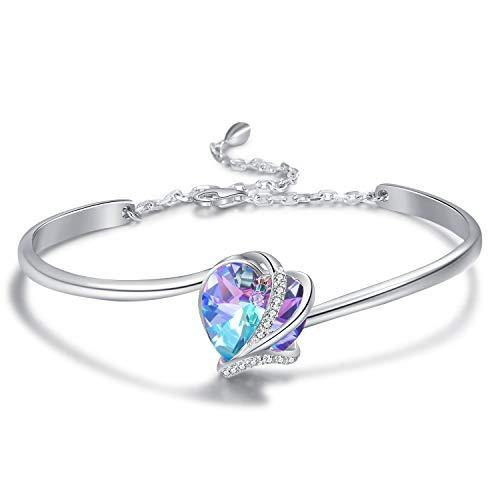 AOBOCO I Love You Jewelry Sterling Silver Love Bracelet, Hypoallergenic Heart Bangle for Women, Blue-purple Crystal from Swarovski, Anniversary Birthday Gifts for Wife Girlfriend Grandma Fiancée