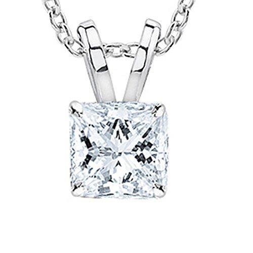 "0.6 Carat 14K White Gold Princess Diamond Solitaire Pendant Necklace J Color VS2 Clarity, w/ 16"" Silver Chain"