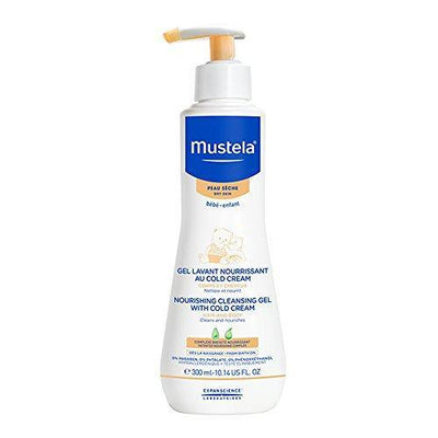 Mustela Cleansing Body Gel, Gentle Baby Wash for Dry Skin, with Natural Avocado Perseose, Ceramides and Cold Cream, 10.14 FL. Oz.