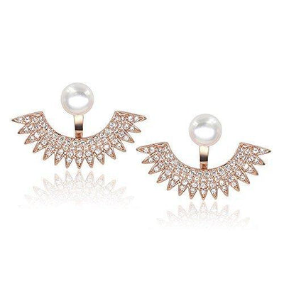 5mm Pearl Stud Front-Back Micropave Jacket Earrings 14K Rose Gold Plated