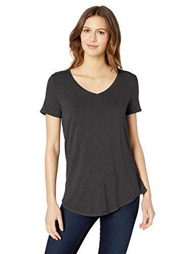 Amazon Essentials Women's Relaxed-Fit Solid Short-Sleeve V-Neck Tunic, Charcoal Heather, S - PRTYA