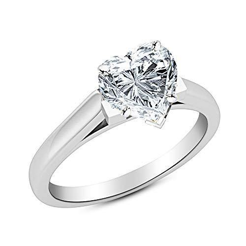 0.75 3/4 Ct GIA Certified Heart Cut Cathedral Solitaire Diamond Engagement Ring 14K White Gold (F Color SI2 Clarity)