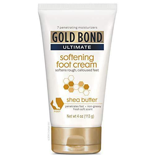 Gold Bond Ultimate Softening Foot Cream with Shea Butter, 4 Ounce, Leaves Rough, Dry, Calloused Feet, Heels, and Soles Feeling Smoother and Softer. Includes Vitamins A, C, E, and Silk Amino Acids.