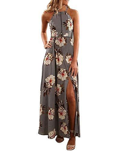 ZESICA Women's Halter Neck Floral Print Backless Split Beach Party Maxi Dress,Grey,Medium