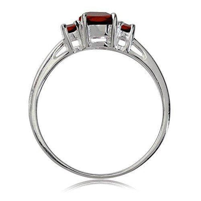Silvershake Petite Natural Garnet White Gold Plated 925 Sterling Silver Promise Ring Size 8.5