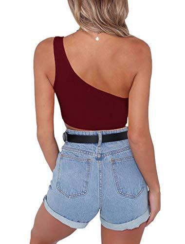PRETTODAY Women's Sleeveless Crop Tops Sexy Strappy Tees (Medium, Wine Red)