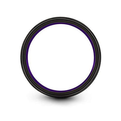 Chroma Color Collection Tungsten Carbide Wedding Band Ring 4mm for Men Women Purple Center Line and Purple Interior Flat Cut Brushed Polished Comfort Fit Anniversary Size 6.5