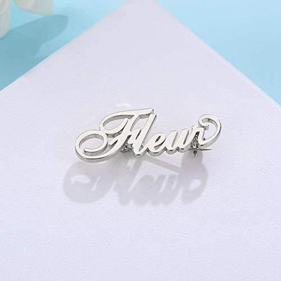 MANZHEN Personalized Custom Name Brooch Pin Customized Jewelry 3 Colors Brooches for Women (Silver)