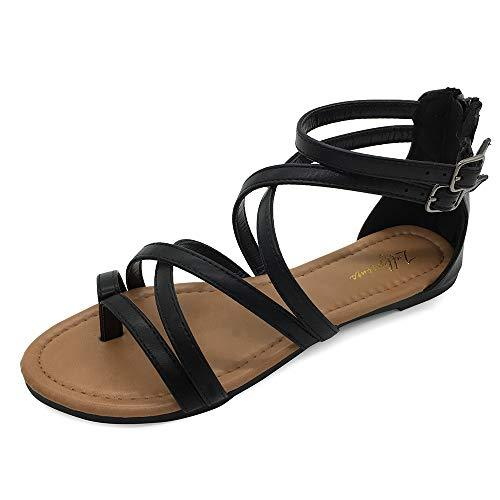 LUFFYMOMO Women's Gladiator Strap Sandals Flat Fisherman Thong Cross Strappy Sandals(9 M US Black) - PRTYA