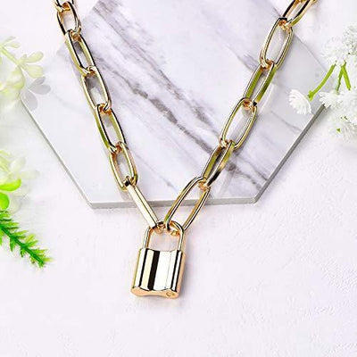 YL Lock Necklace 18K Gold Alloy Padlock Chain Men Women Statement Punk Choker Jewelry