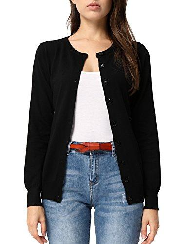GRACE KARIN Long Sleeve Button Down Crew Neck Knit Cardigan Sweater for Women (L,Black)