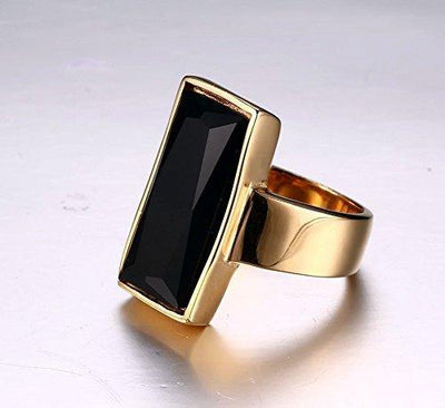VNOX Vintage Fashion Stainless Steel Gold Plated Rectangular Black Glass Crystal Cocktail Statement Onyx Ring for Women Girls,Antique Women Jewelry Gift