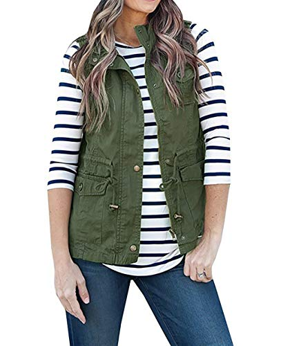Women Sleeveless Lightweight Vest Jacket Plain Color Military Jacket Vest with One Shoulder Button & Drawstring & Pockets (1.Army Green, M)