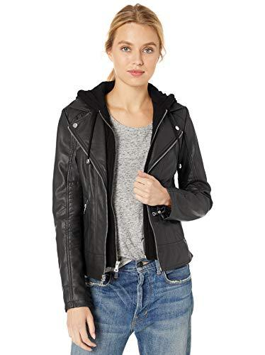 GUESS Women's Faux Leather Zip Front Scuba Jacket, Black, Medium