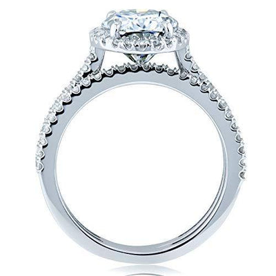 Kobelli Oval Moissanite Halo Bridal Rings Set 2 3/8 CTW 14k White Gold, 11